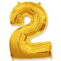Воздушный шар из фольги, Цифра 2, золотой 40