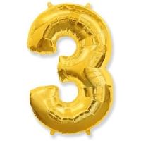 Воздушный шар из фольги, Цифра 3, золотой 40