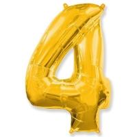 Воздушный шар из фольги, Цифра 4, золотой 40