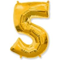 Воздушный шар из фольги, Цифра 5, золотой 40