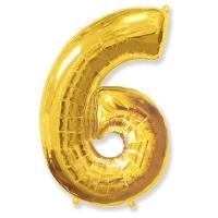 Воздушный шар из фольги, Цифра 6, золотой 40