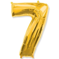 Воздушный шар из фольги, Цифра 7, золотой 40