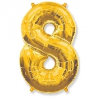 Воздушный шар из фольги, Цифра 8, золотой 40