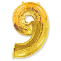 Воздушный шар из фольги, Цифра 9, золотой 40